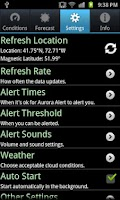 Screenshot of Aurora Alert