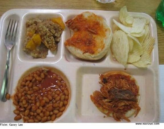 世界各国的校餐 美国:土豆泥还有什么豆子