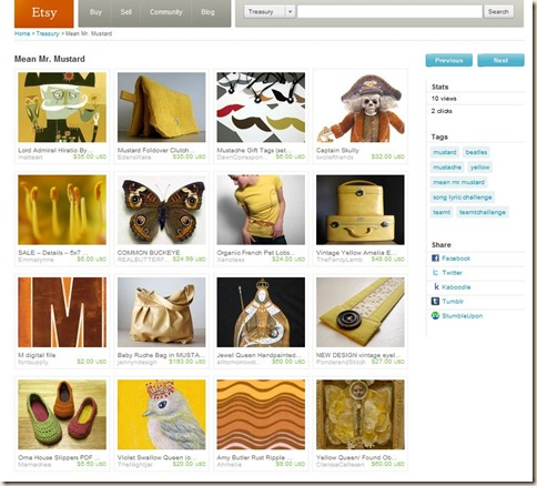 yellow etsy treasury