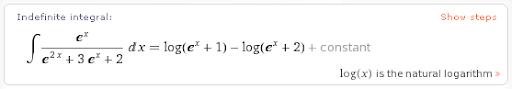 Calculo de Integrales Indefinidas por Wolfram Alpha