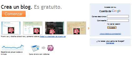 Página principal de Blogger.com