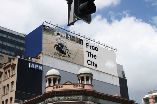 Faux bicycle billboard in Australia