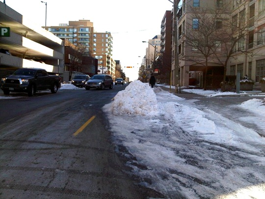 Toronto snow bump-out traffic calming measure