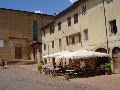 Good Night and God Bless - cafe outside Tuscan Monastery
