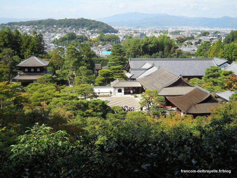 Pavillon d'argent et vue sur Kyoto