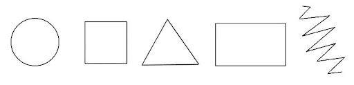 круг, квадрат, треугольник, прямоугольник и зигзаг
