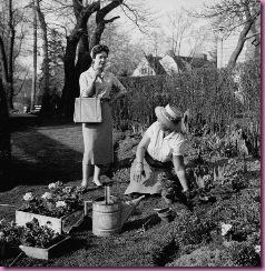 gardening in skirt