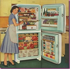 1950s overstuffed fridge