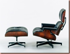 "This is Charles and Ray Eames, Lounge Chair and Ottoman, 1956, Molded rosewood plywood, black leather upholstery, aluminum 33 x 33 x 33"" (chair) 16 x 26 x 21"" (ottoman) Grand Rapids Art Museum, Gift of La Vern and Betty DePree Van Kley. Photographer: Nick Merrick. Source: Museum of Arts & Design via Bloomberg News"