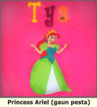 princess ariel, kaos anak, flanel
