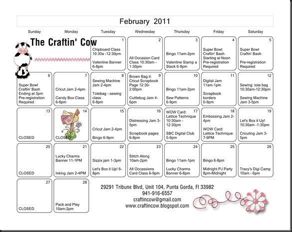 Craftin Cow Calendar - Page 002