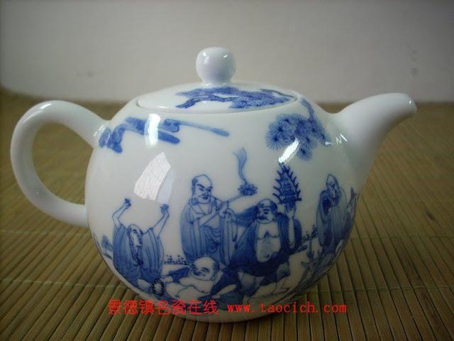 永春壶手绘八仙青花茶具