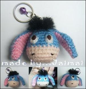 blue donkey amigurumi keychain