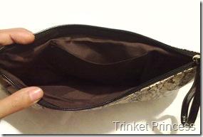 faux snakeskin clutchbag