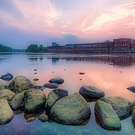 Kennebec by John Roberts - Landscapes Waterscapes ( water, kennebec river, maine, sunrise, waterville )