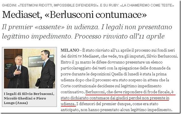 Berlusconi contumace