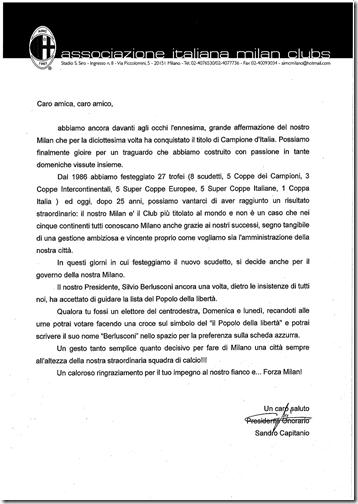 I Milan Clubs invitano a votare Berlusconi