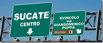 cartelli sull'autostrada di Sucate
