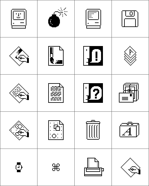 Original Macintosh Icon samples by Susan Kare