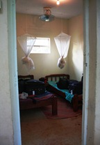 Red Chilli room - you tie up the mosquito nets during the day so critters don't get inside them.
