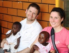 Kirsten and me holding the beautiful orphaned children at Nsambya Babies Home in Kampala.