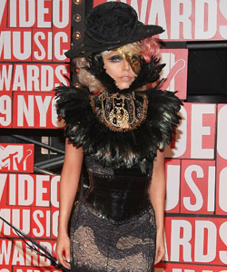 Lady Gaga on the red carpet at the VMA's [image courtesy of Getty images and MTV]