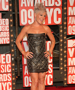 Pink on the red carpet at the VMA's [image courtesy of Getty images and MTV]