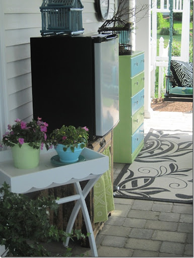 Another Treasure Is This White Tray Table, 5 $, Yardsale. I Keep It Near  The Back Door So Itu0027s Close When I Want To Bring Out Food. Holding The  Fridge Is A ...