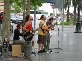 músicos en la Rambla, Barcelona