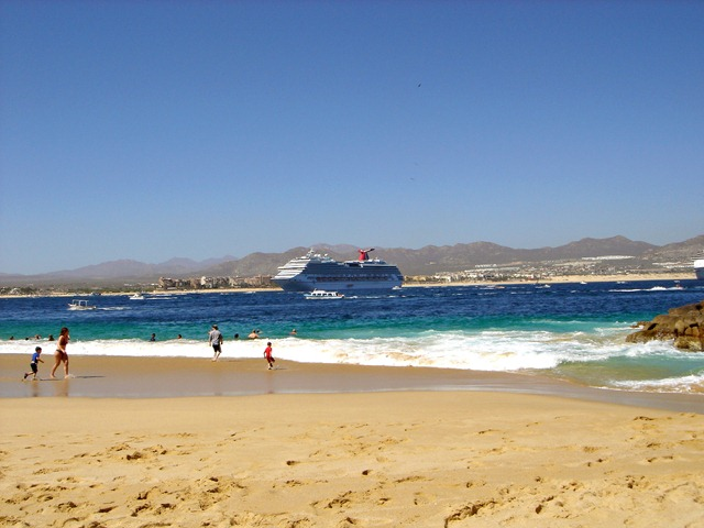 Lover's Beach w.Cruise Ship