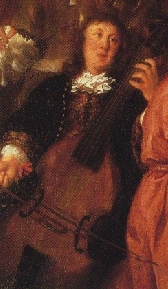 The only surviving portrait of Buxtehude, from A musical party by Johannes Voorhout (1674).