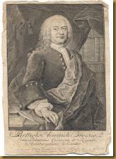 Engraved portrait of Brockes (1744) by Christian Fritsch (1704 - 1760)