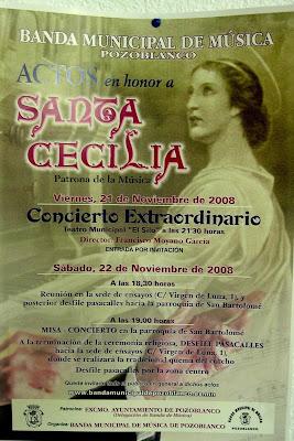 Cartel anunciador de los Actos de Santa Cecilia 2008