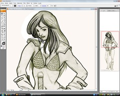 Red Sonja, lápiz + Illustrator