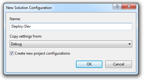 Naming a new build configuration