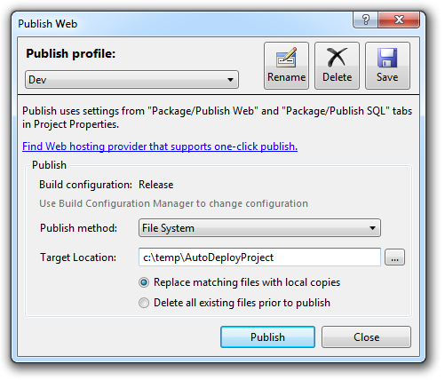 Configuring a publish profile