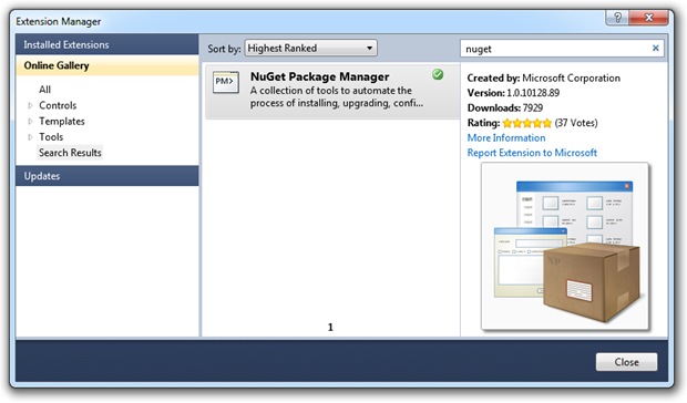 Adding NuGet from the extension manager