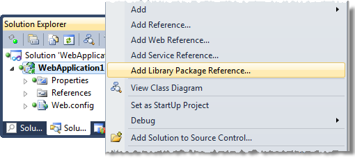 Adding a library package reference to a project