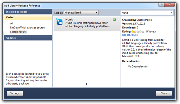 NUnit successfully added as a NuGet library package reference