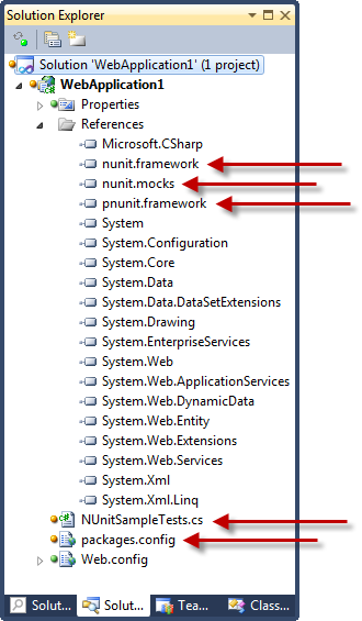 New references and files after adding NUnit via NuGet