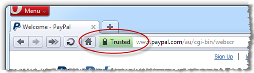 Opera showing the presence of PayPal SSL