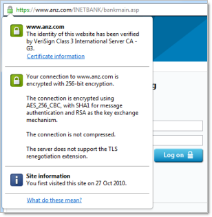 ANZ website showing valid SSL certificate
