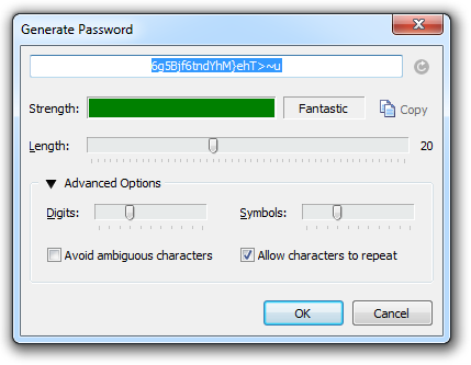 Generating a strong password with 1Password