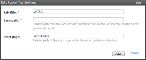 Adding a WCSA report tab to the build