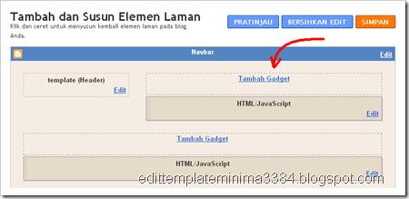 tampilan header 2 kolom pada menu elemen laman