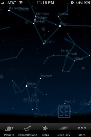 Starmap: Orion's Belt and Orion's Nebula