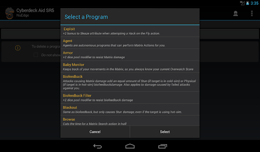 download functions selection