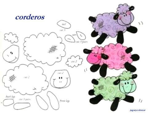 Dibujos recortables para niños Ovejas | Jugar y colorear