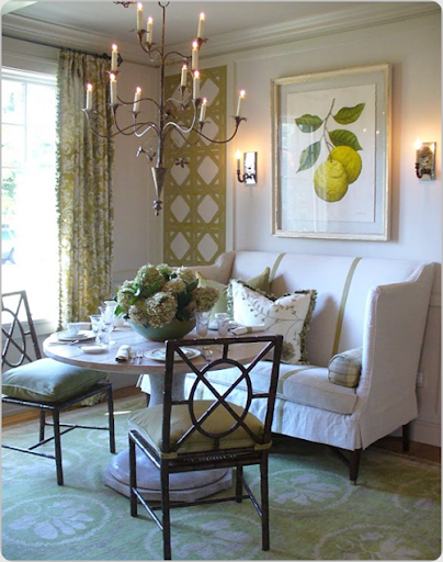 Attractive Victoria Nealeu0027s Lovely Fresh Inviting Dining Room At The Green House  Charity Works House Used An Edward Ferrell High Back Settee With Contrast  Stripes And ...