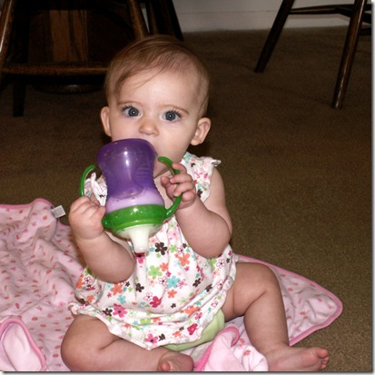 Elaine 6 months upside down sippy cup